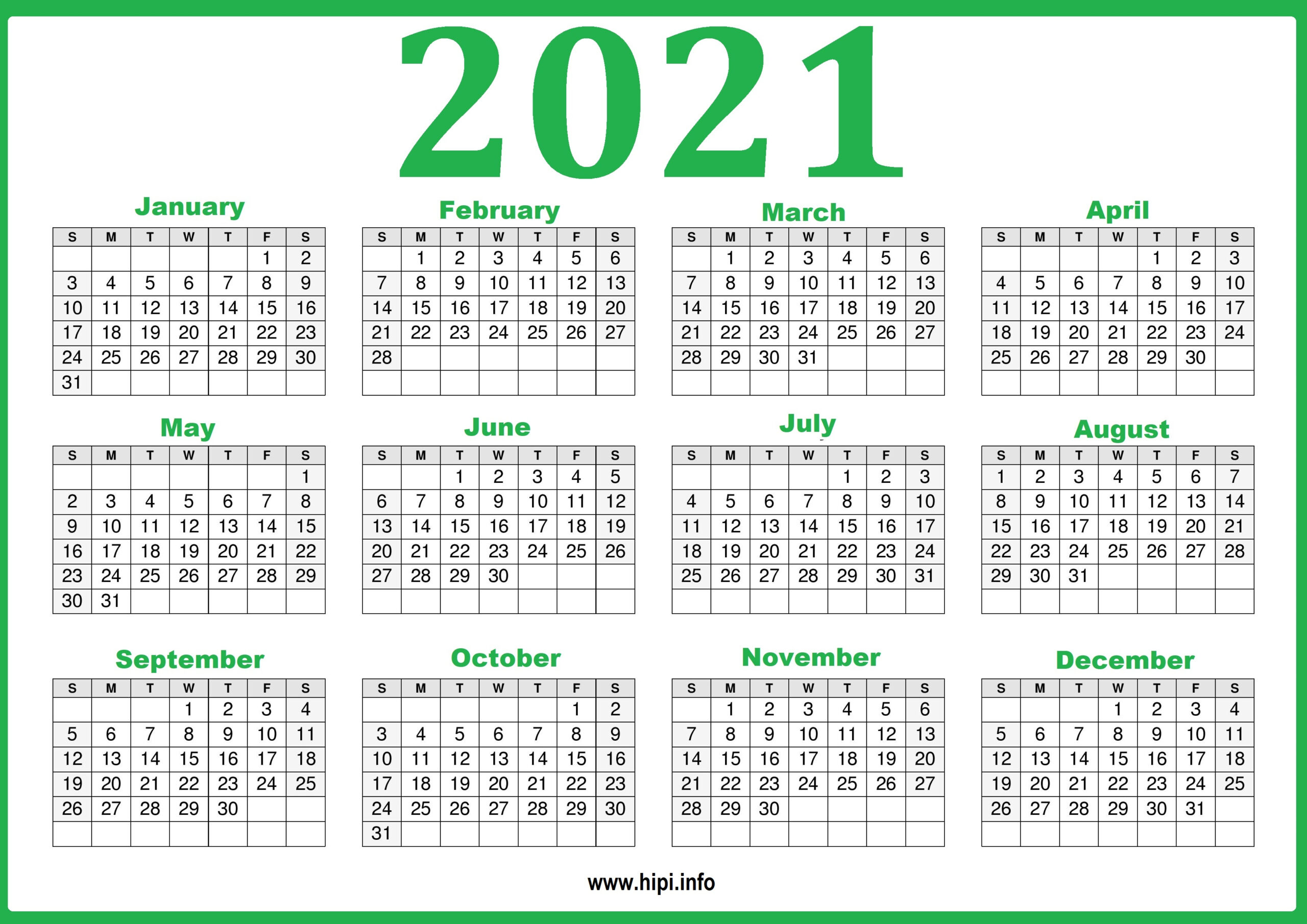 Free Printable 2021 Calendar, Pink And Green - Hipi pertaining to Printable Calendars 2021 Sunday To Saturday