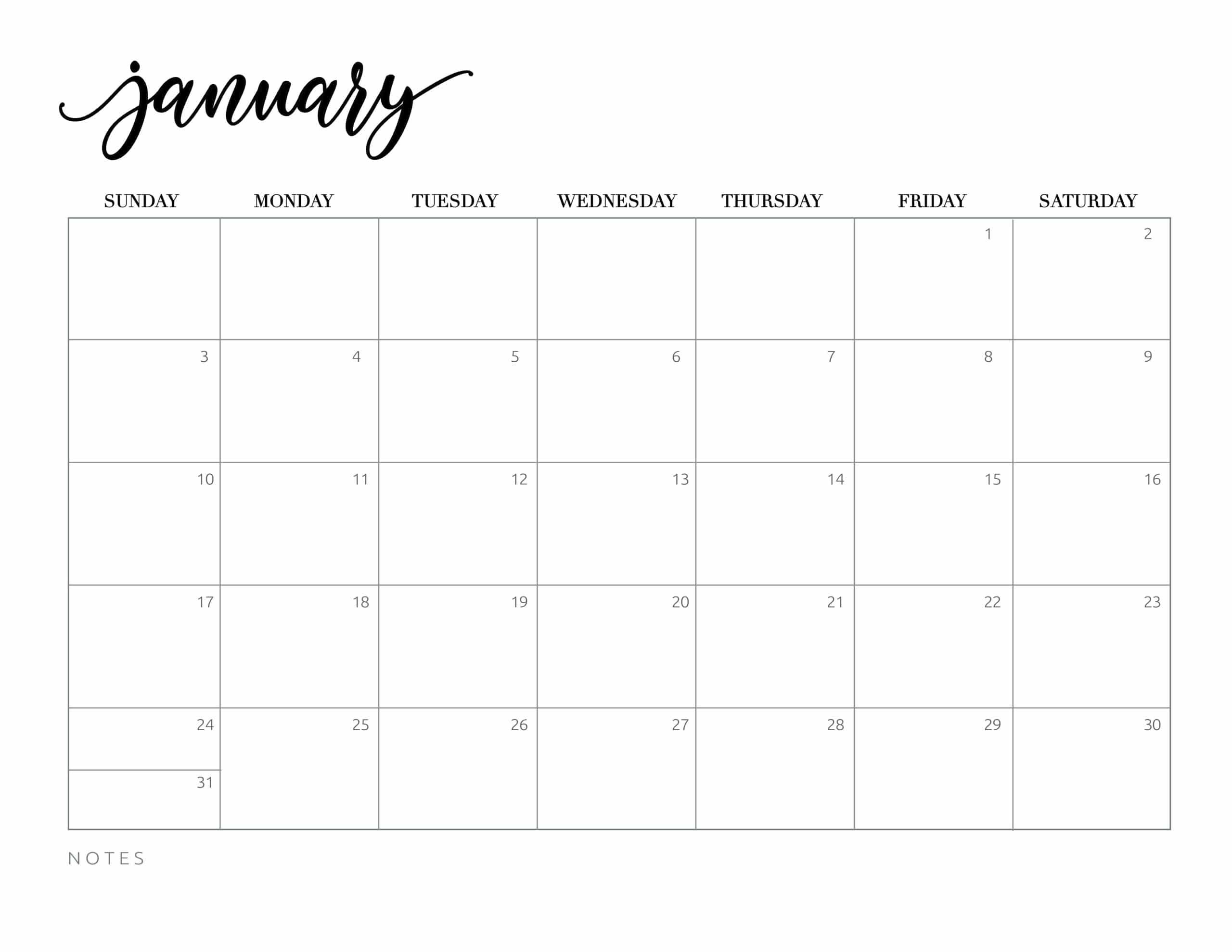 Free Printable 2021 Calendar - World Of Printables regarding Blank 2021 Calendar Printable Free