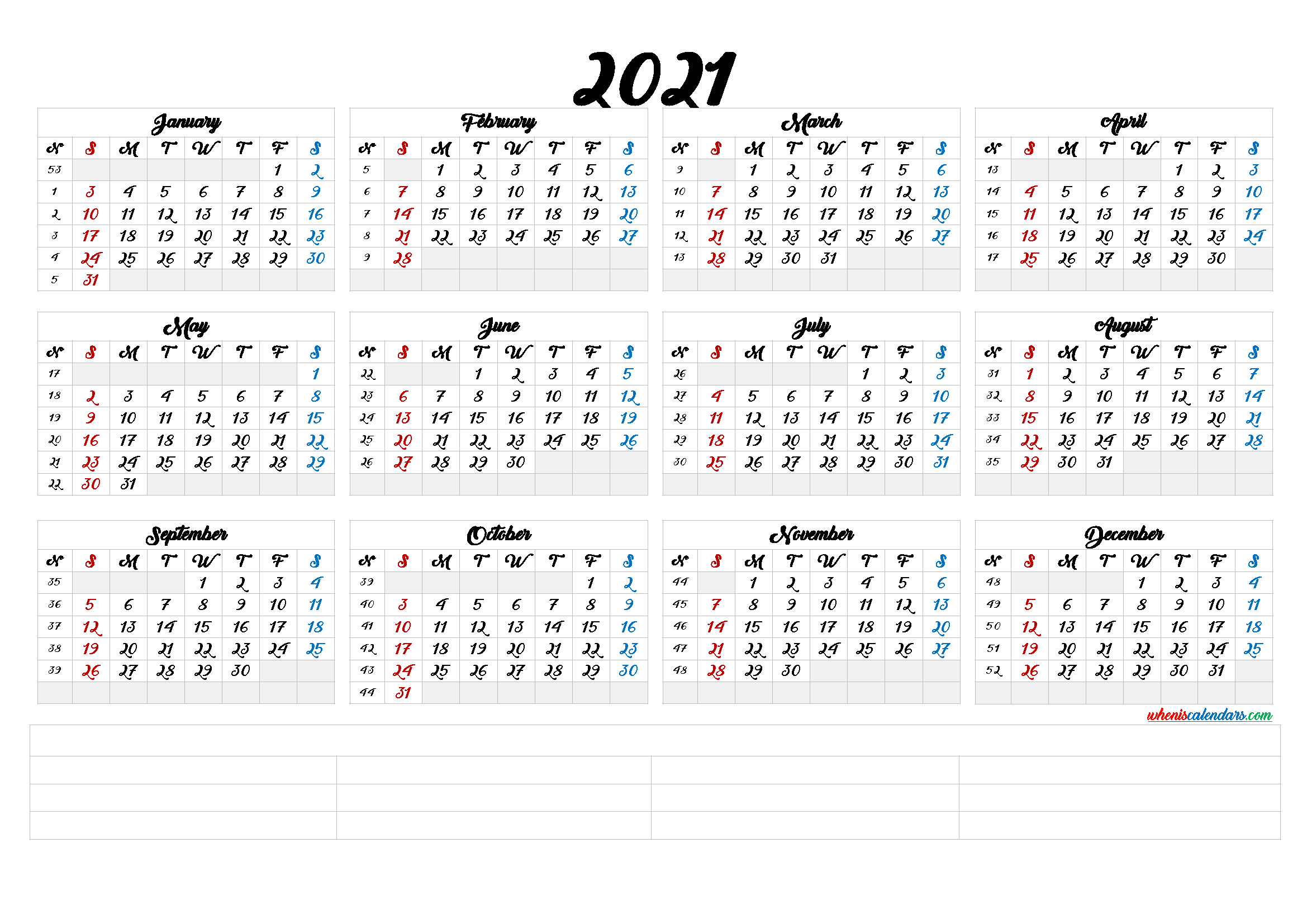 Free Printable 2021 Calendarmonth (6 Templates) intended for 2021 Pocket Planner: Yearly Calendar