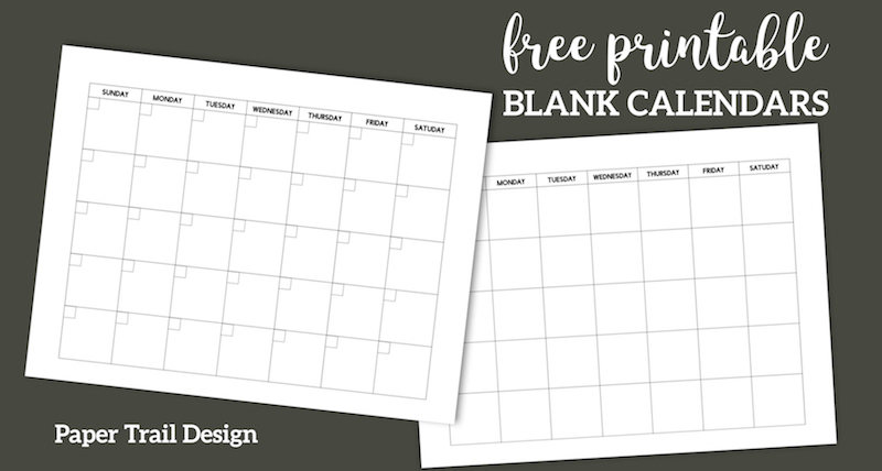 Free Printable Blank Calendar Template   Paper Trail Design regarding Printable Monthly Calendar Without Download