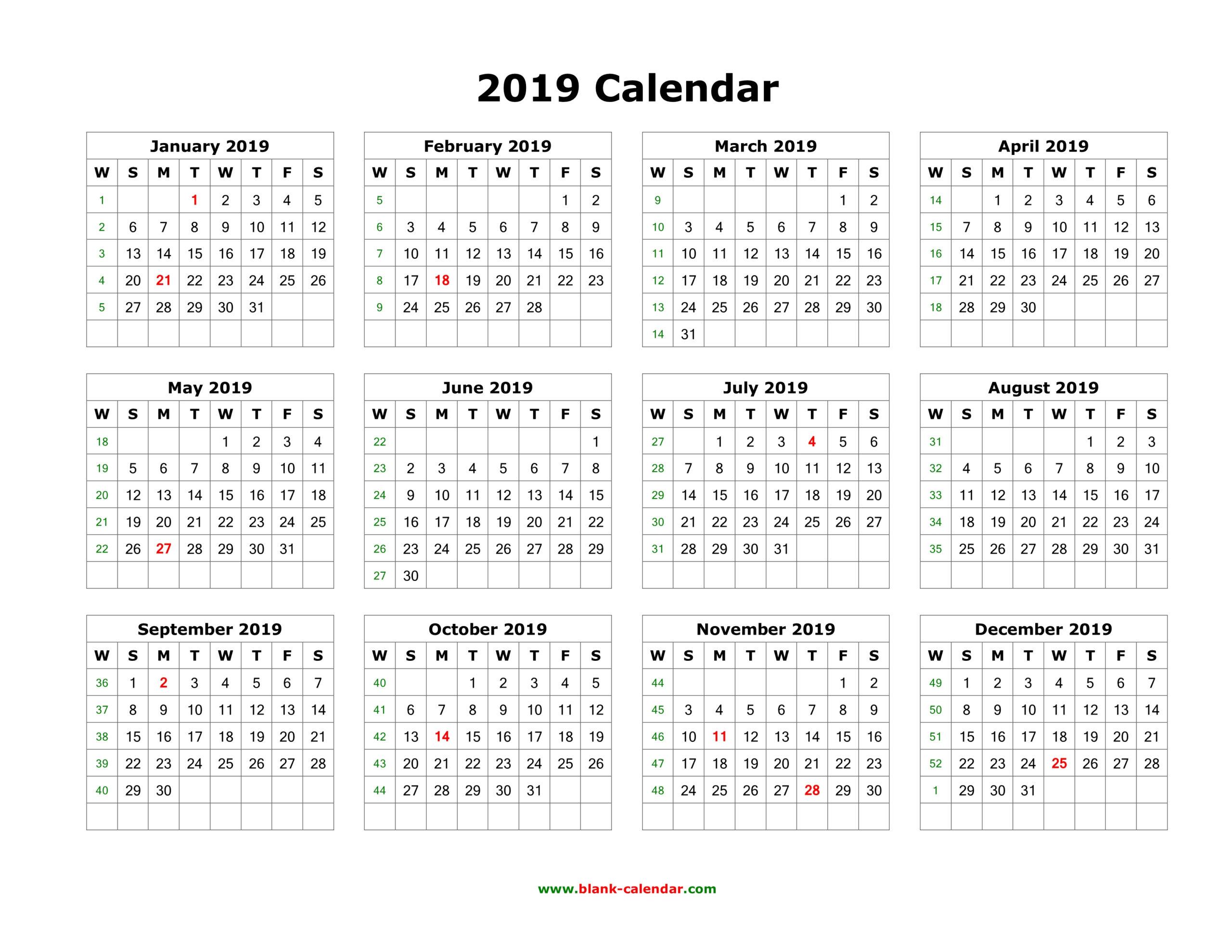 Free Printable Calendar 2019   Blank Calendar, Monthly And throughout All Year Calendar