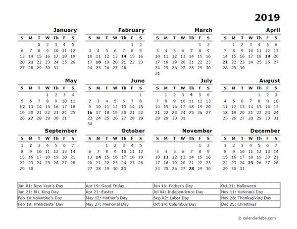 Free Printable Calendar 2019 With Holidays | Blank 12 inside Vertex Yearly Calendar