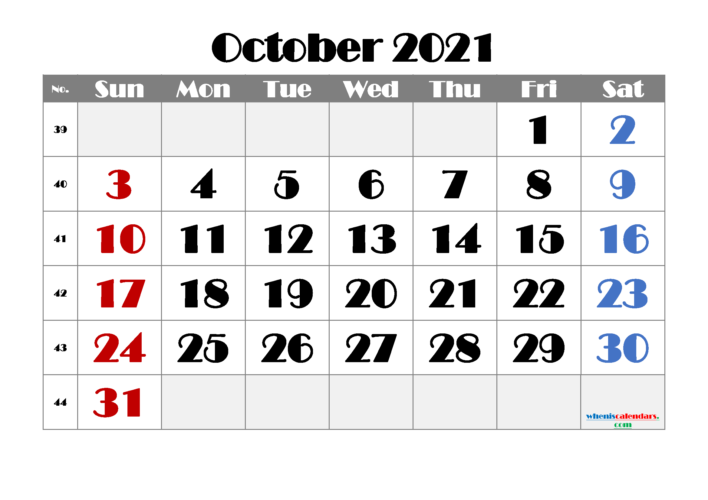 Free Printable October 2021 Calendar for Calendar 2021 October Fill In