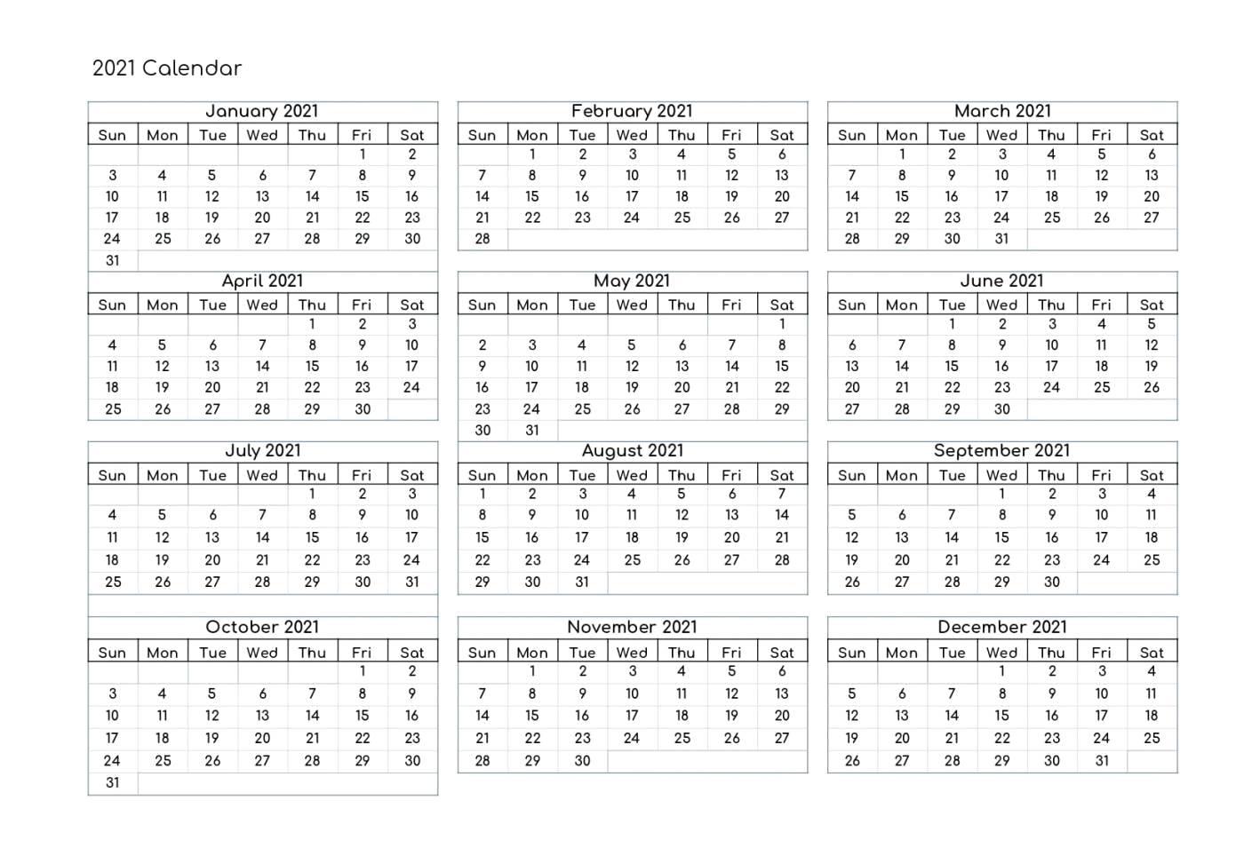 Free Yearly 2021 Calendar Printable Templates - Calendar Edu with Free Fillable Calendar 2021