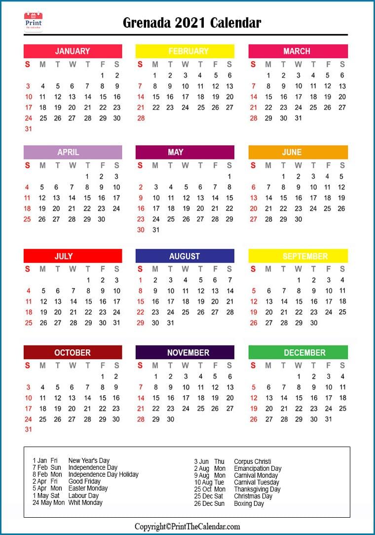 Grenada Holidays 2021 [2021 Calendar With Grenada Holidays] inside 2021 Pocket Planner: Yearly Calendar