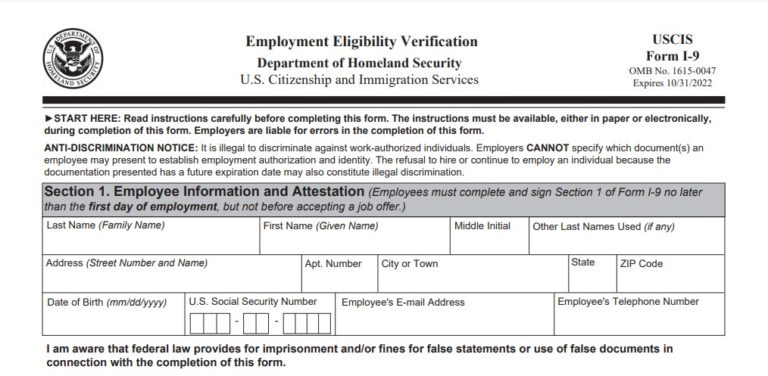 I9 Form 2021 Printable & Fillable intended for I9 Forms 2021 Printable