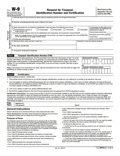 Irs W-9 Form - Free Download, Create, Edit, Fill And Print throughout W 9 Forms To Print