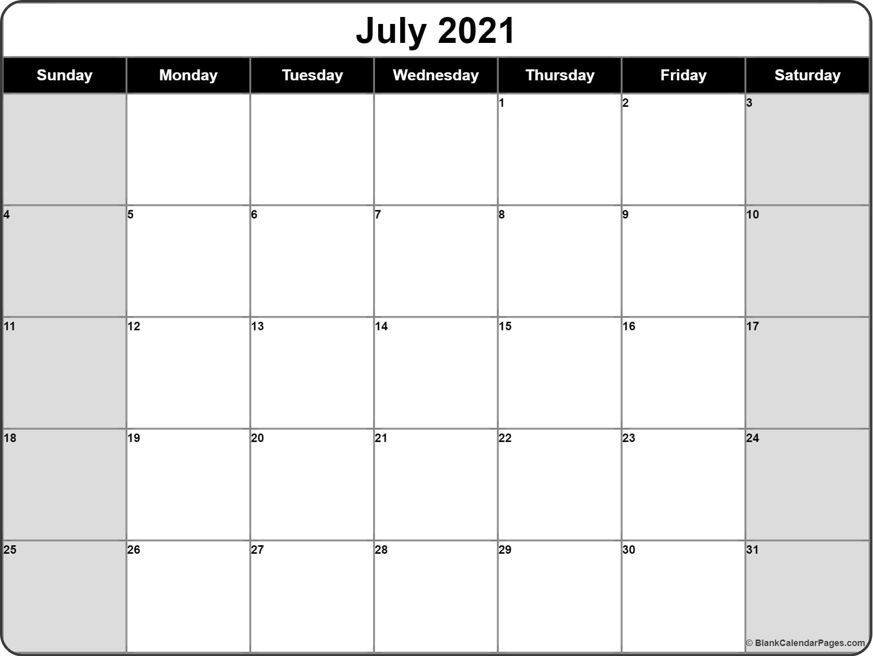 July 2021 Calendar   Free Printable Calendar Templates pertaining to Print Free July 2021 Calendar Without Downloading