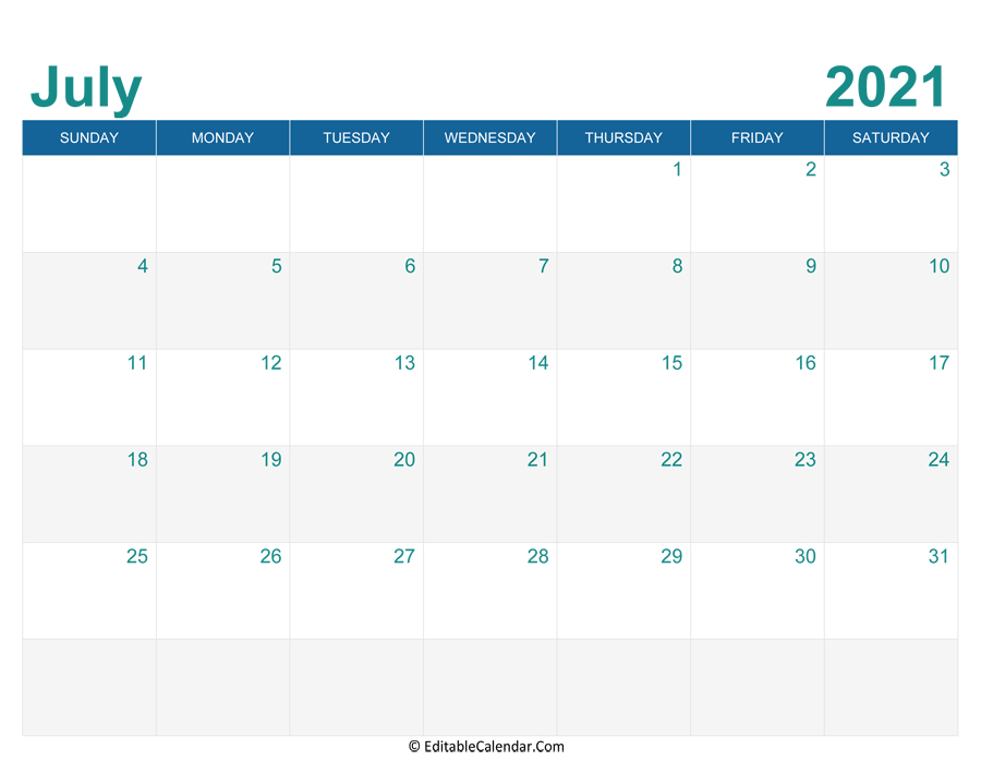 July 2021 Calendar Templates throughout Print Free July 2021 Calendar Without Downloading