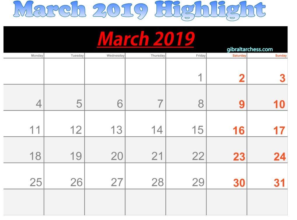 March 2019 Calendar Highlight Sunday Saturday | 2019 inside Sunday Saturday Calendar Template