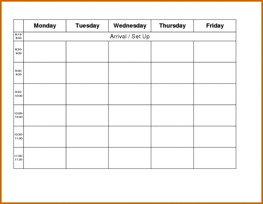 Monday Through Friday Blank Schedule Print Out - Calendar pertaining to Sunday Saturday Calendar Template