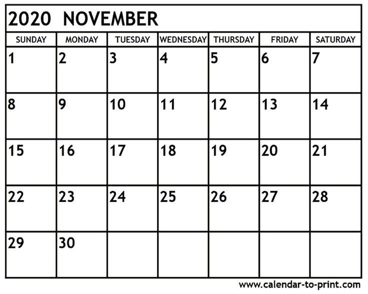 November 2020 Calendar Printable November 2020 Calendar inside Calendar Of November For Fill