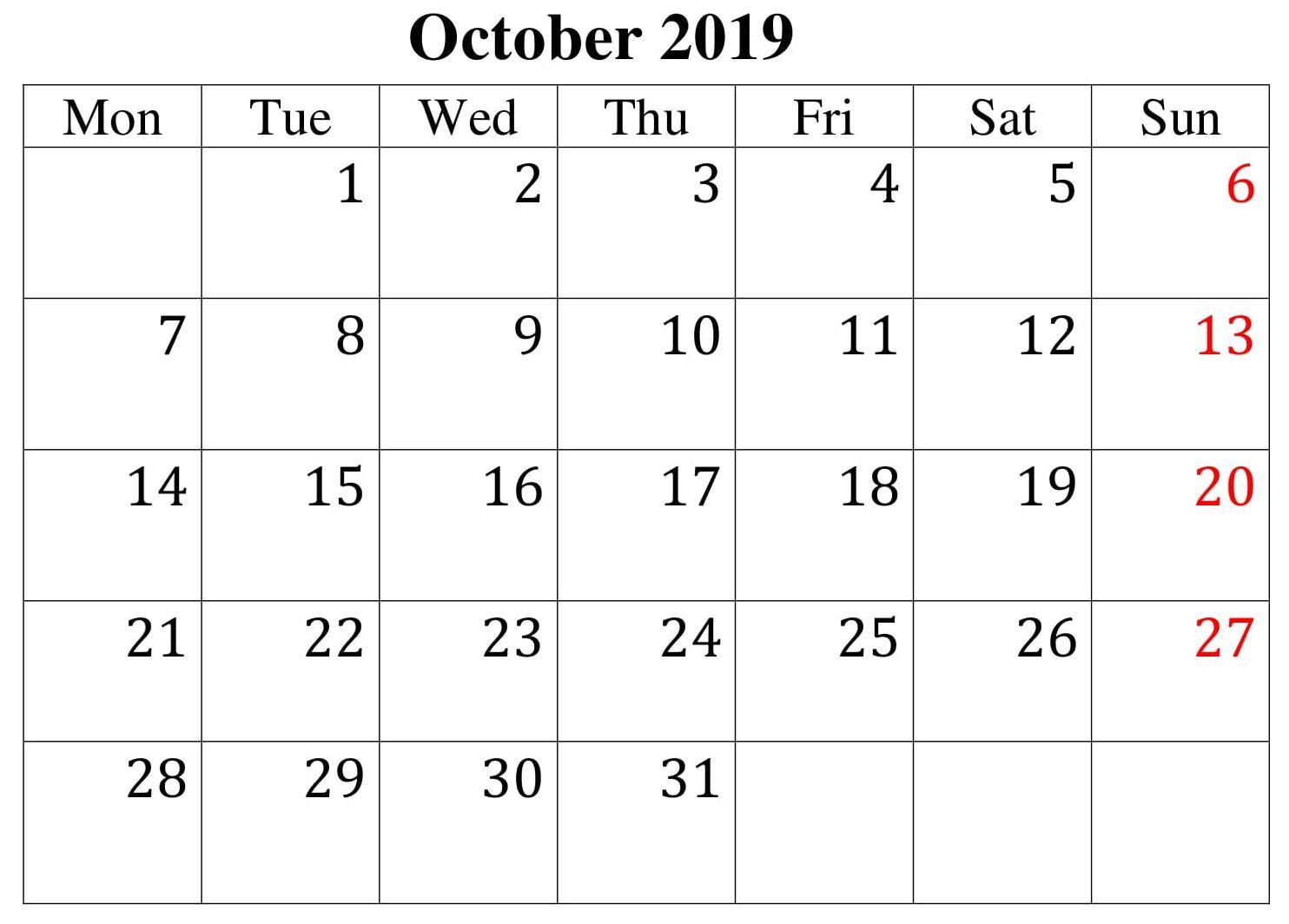 October 2019 Editable Calendar Template | Calendar Template within Waterproof Calendars Printable 2021