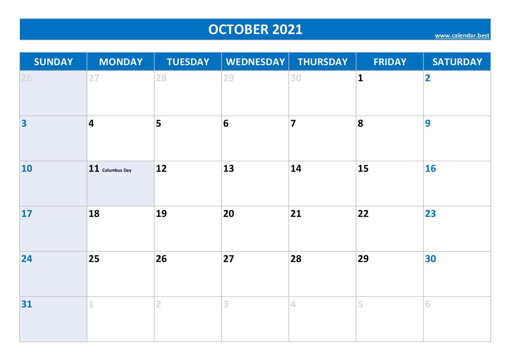 October 2021 Calendar -Calendar.best inside Calendar 2021 October Fill In