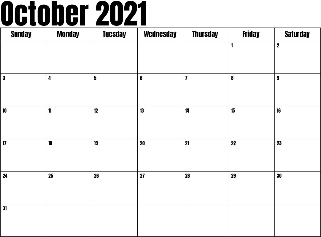 October 2021 Calendar pertaining to Calendar 2021 October Fill In