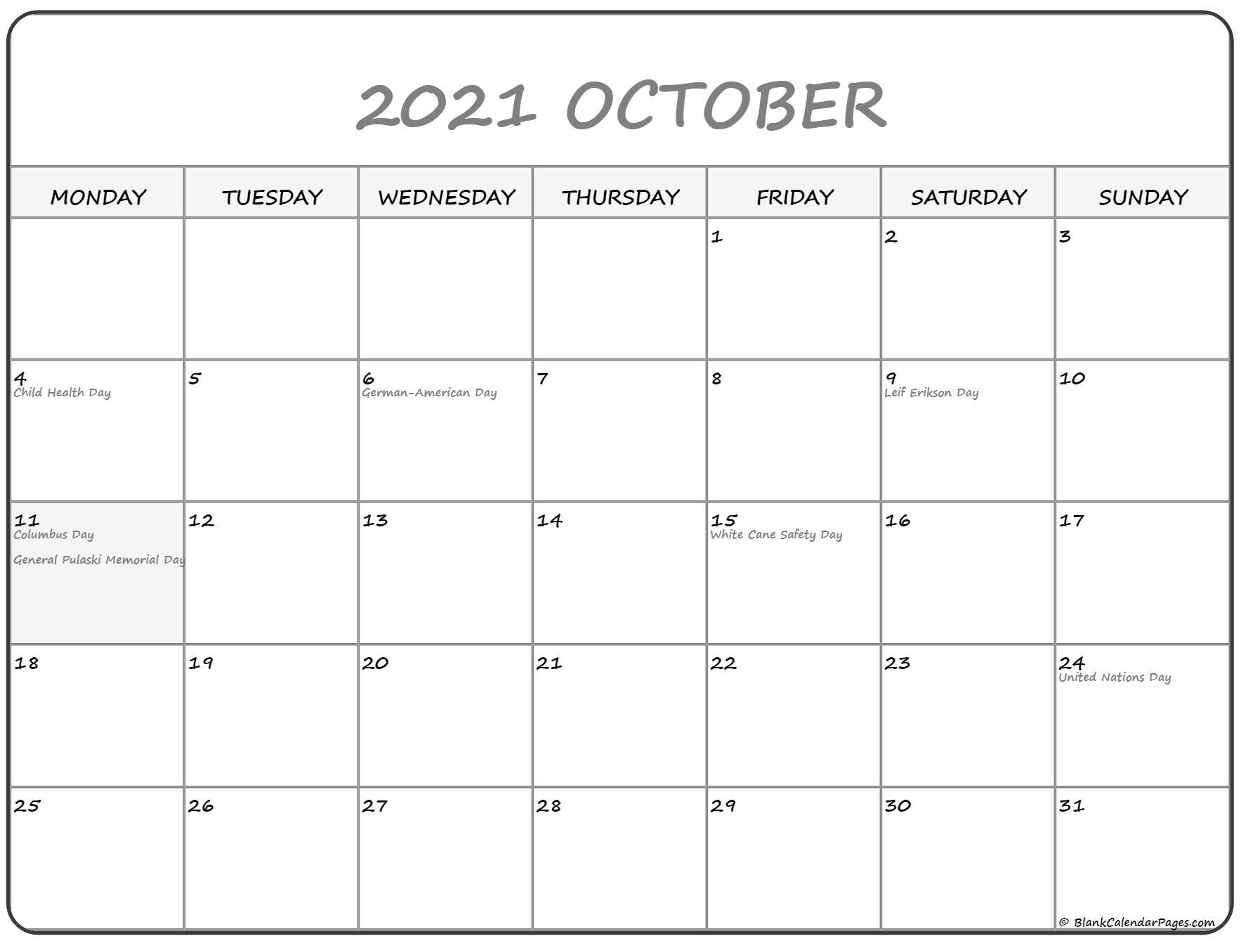 October 2021 Thru December 2021 Calendar | Calendar inside Calendar 2021 Monday Through Sunday