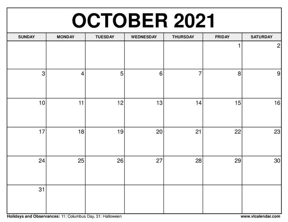 October Calendar 2021 Columbus Day | 2021 Calendar with Calendar 2021 October Fill In