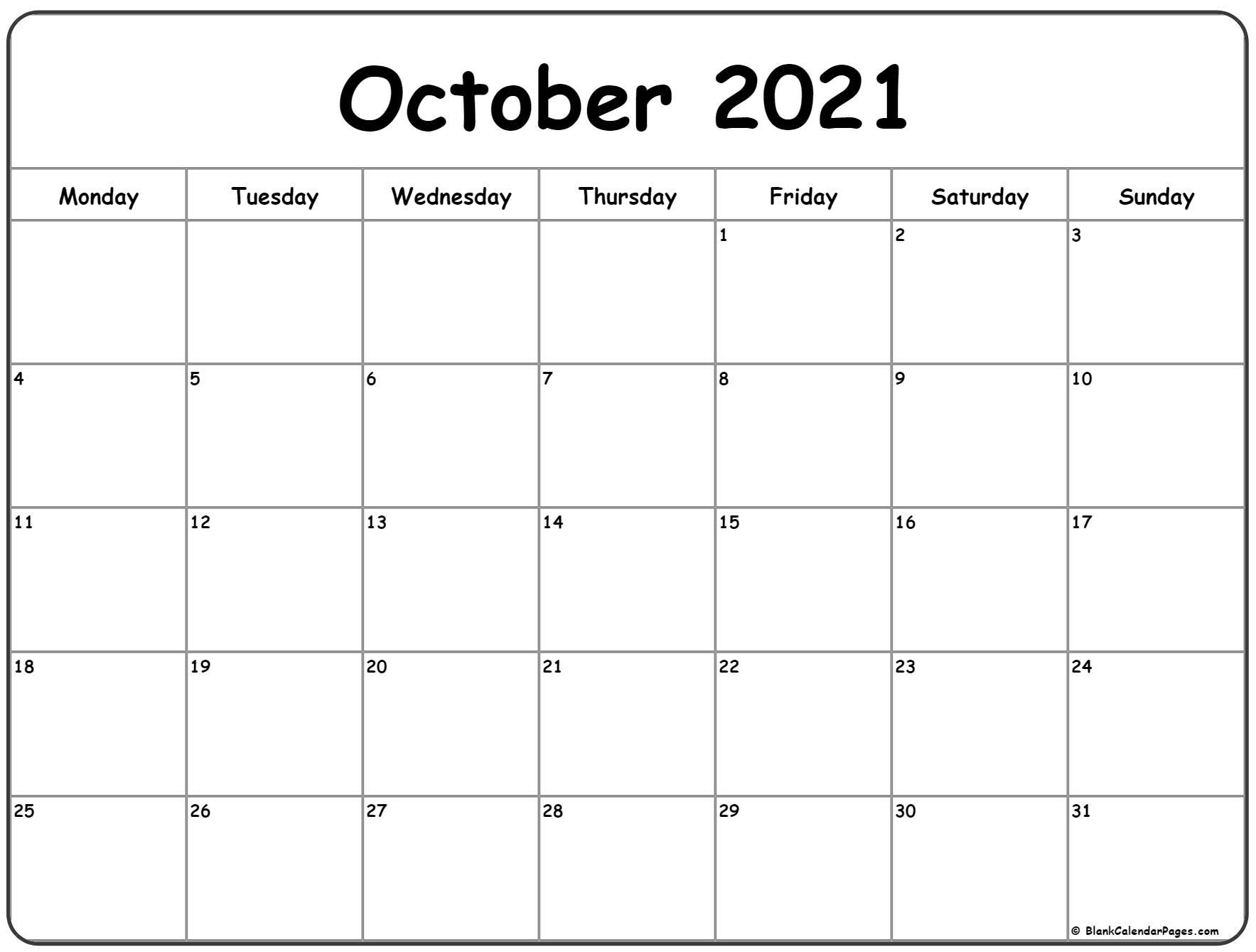 October Calendar 2021 | Month Calendar Printable throughout Calendar 2021 October Fill In
