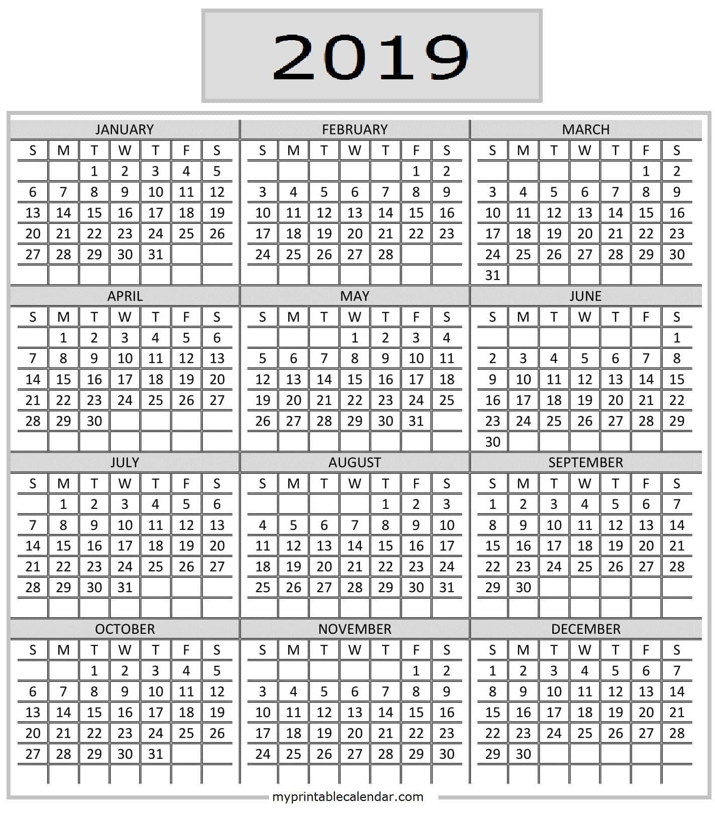 Pocket Calendar 2019 Printable | Calendar 2019 Printable in Printable Pocket Calender