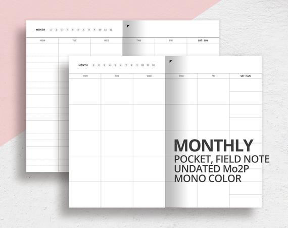 Pocket Field Note Size Monthly Insert/Mo2P/Printable Undated with regard to Printable Pocket Calender