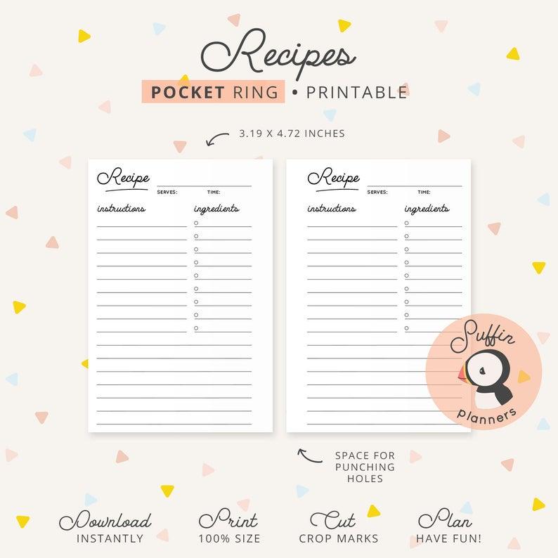 Pocket Planner Recipe Inserts Printable Recipe Planner within Printable Pocket Calender