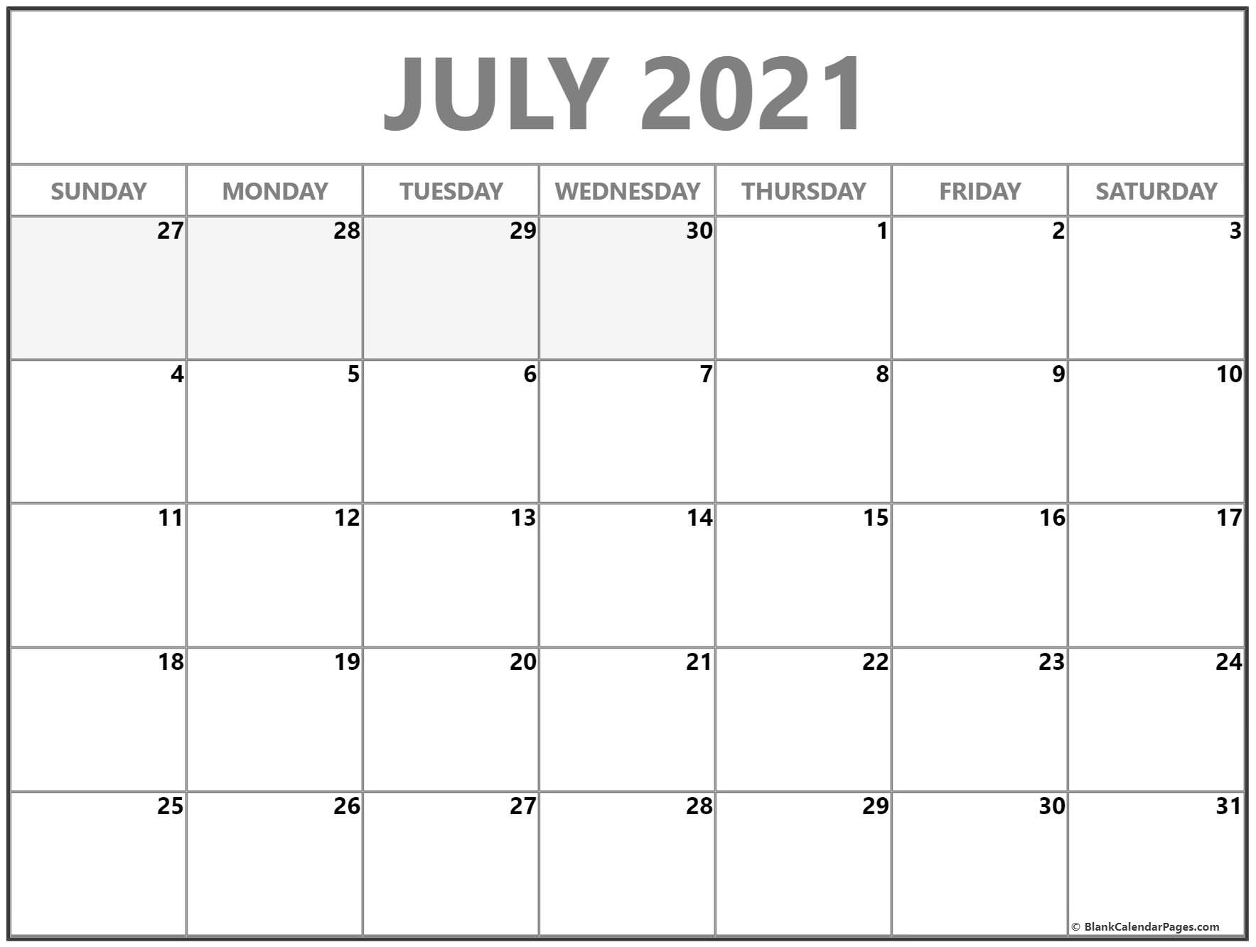 Print Free 2021 Monthly Calendar Without Downloading in Print Free July 2021 Calendar Without Downloading