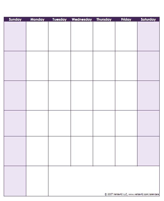 Print Monday Through Sunday Calendar Photo | Calendar for Sunday Through Monday Blank Calendar