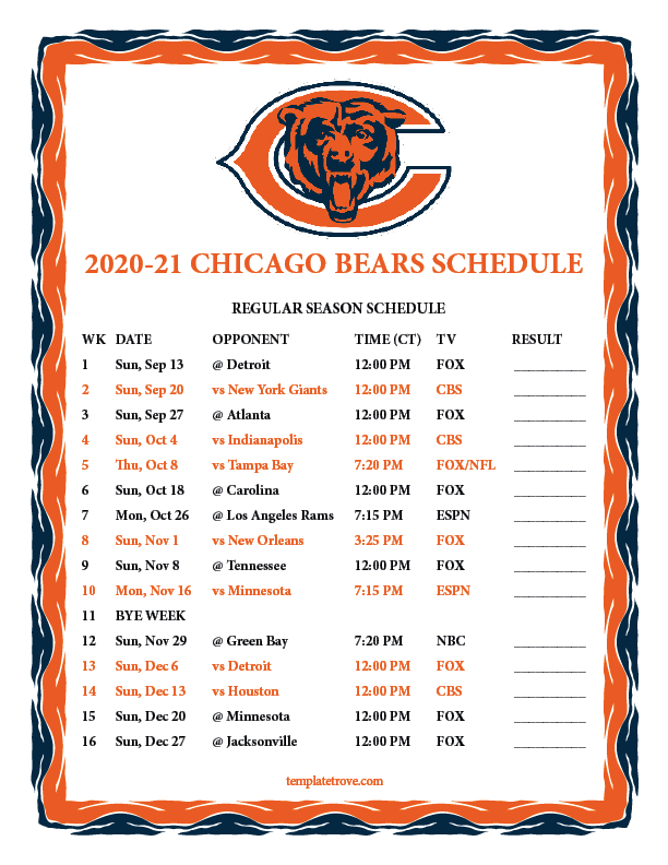 Printable 2020-2021 Chicago Bears Schedule in Nfl Printable Schedules 2021
