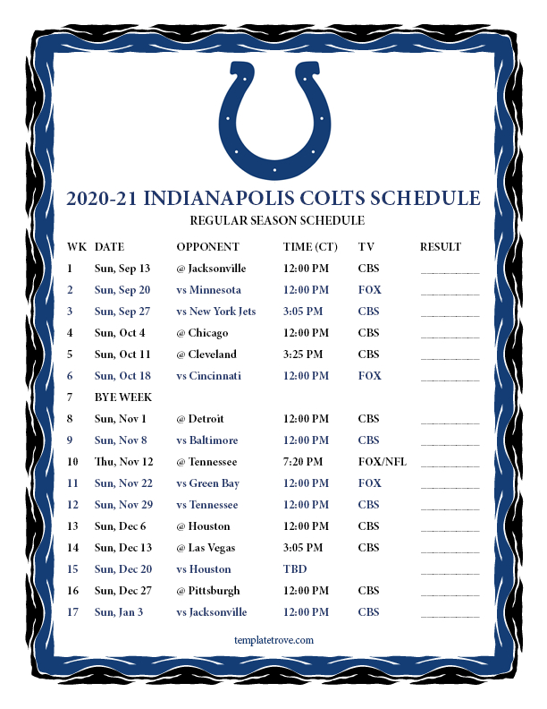 Printable 2020-2021 Indianapolis Colts Schedule regarding Free Printable Nfl 2021 Schedule
