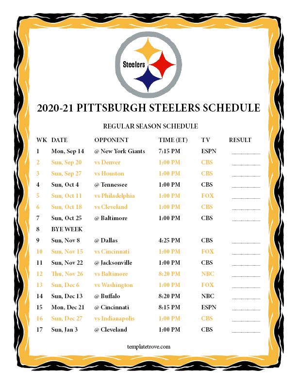 Printable 2020-2021 Pittsburgh Steelers Schedule regarding Printable 2021 Full Nfl Schedule