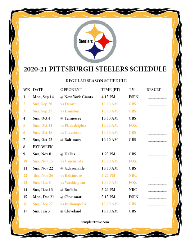 Printable 2020-2021 Pittsburgh Steelers Schedule throughout Nfl Printable Schedules 2021