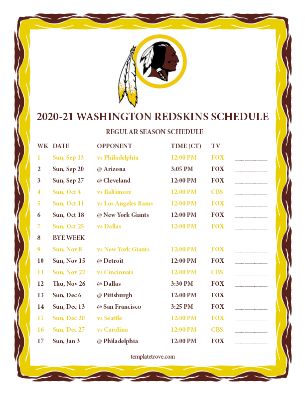 Printable 2020-2021 Washington Redskins Schedule intended for Nfl Printable Schedules 2021