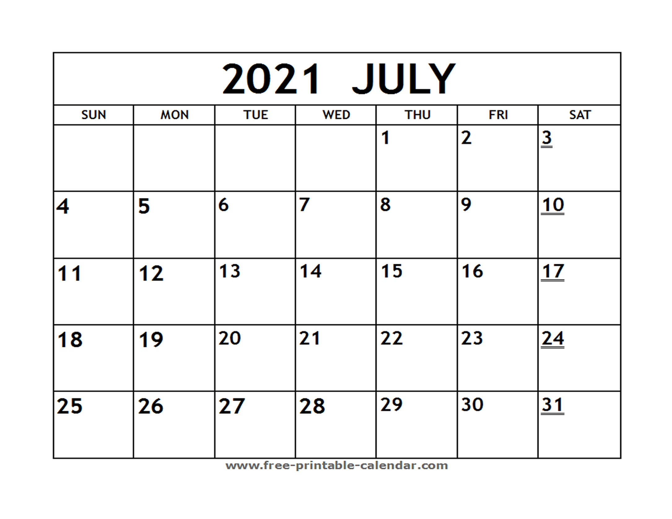Printable 2021 July Calendar - Free-Printable-Calendar throughout August 2021 Fill In Calendar