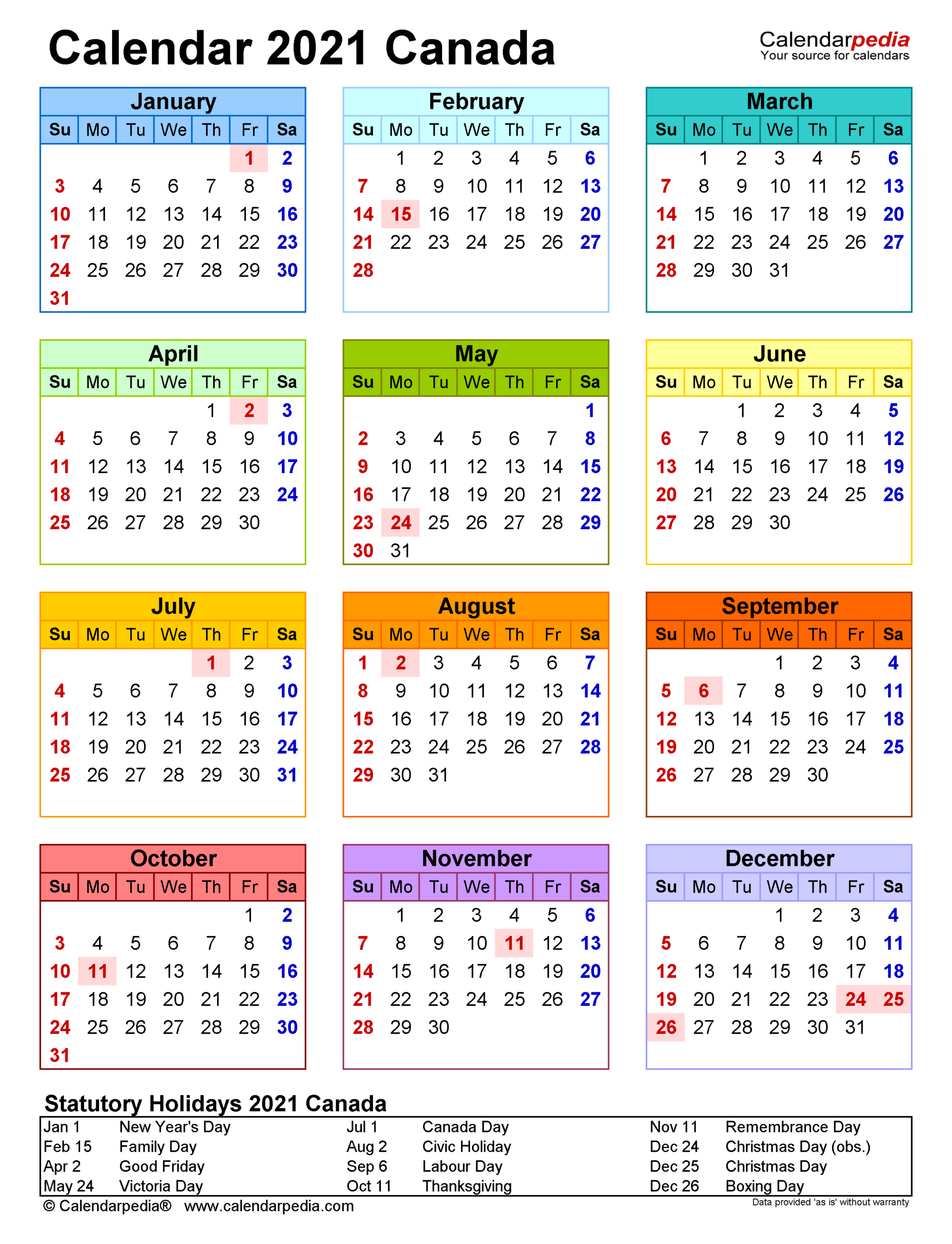 Printable 2021 Monthly Calendar With Canadian Holidays for 2021 Pocket Planner: Yearly Calendar