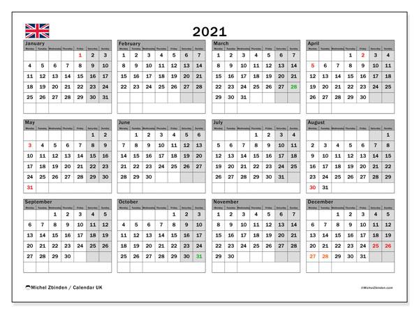 "Printable 2021 ""Uk"" Calendar - Michel Zbinden En with Printable Calendars 2021 Sunday To Saturday"