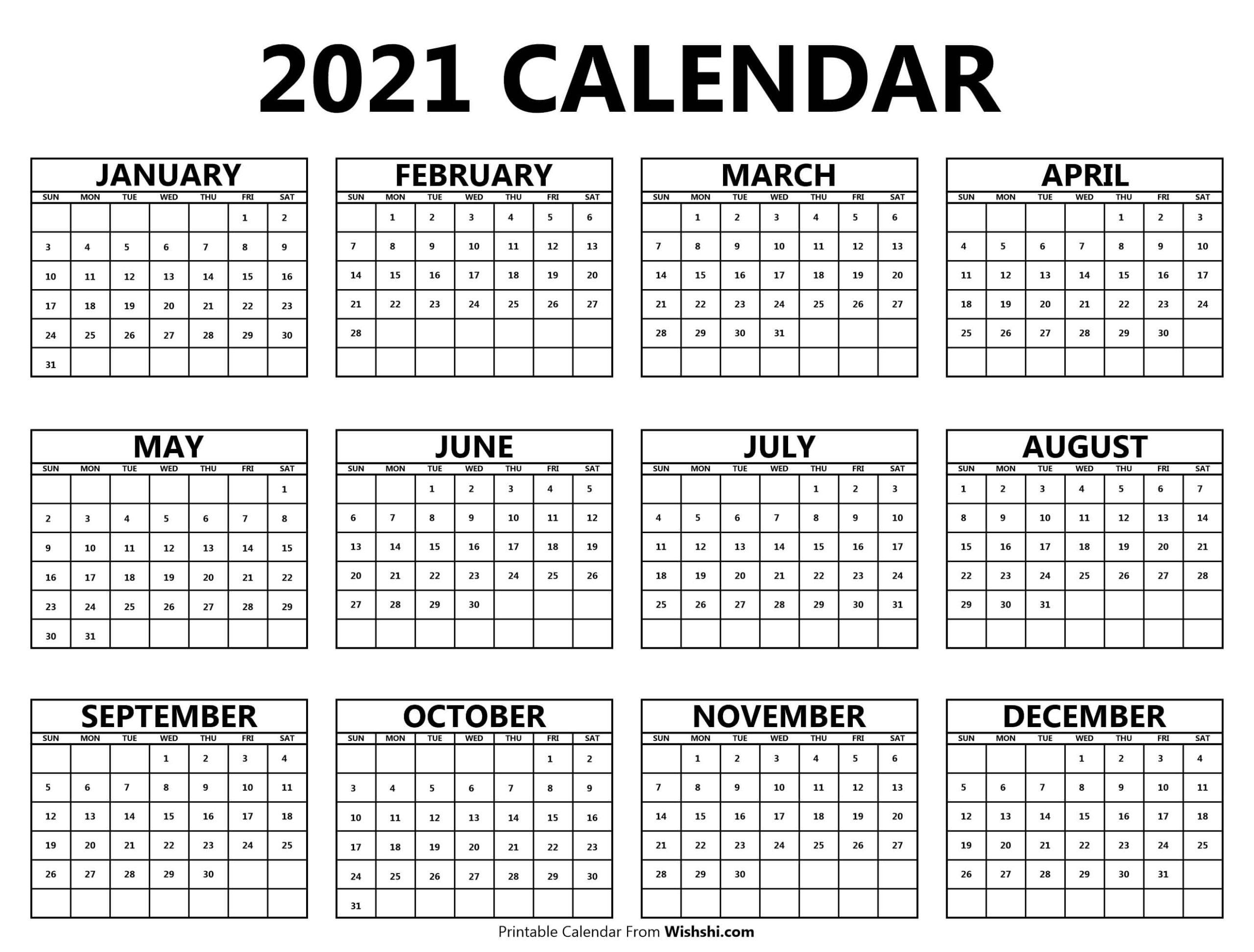 Printable 2021 Yearly Calendar - Free Printable Calendars in Blank 2021 Calendar Printable Free