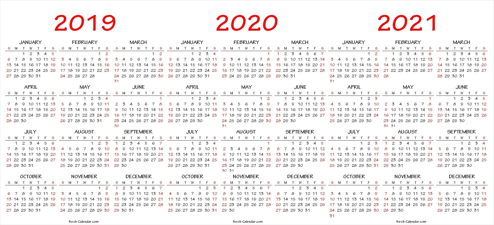 Printable 3 Year Calendar 2019 2020 2021 - Calendar with 2021-2022 Three 3 Year Planner