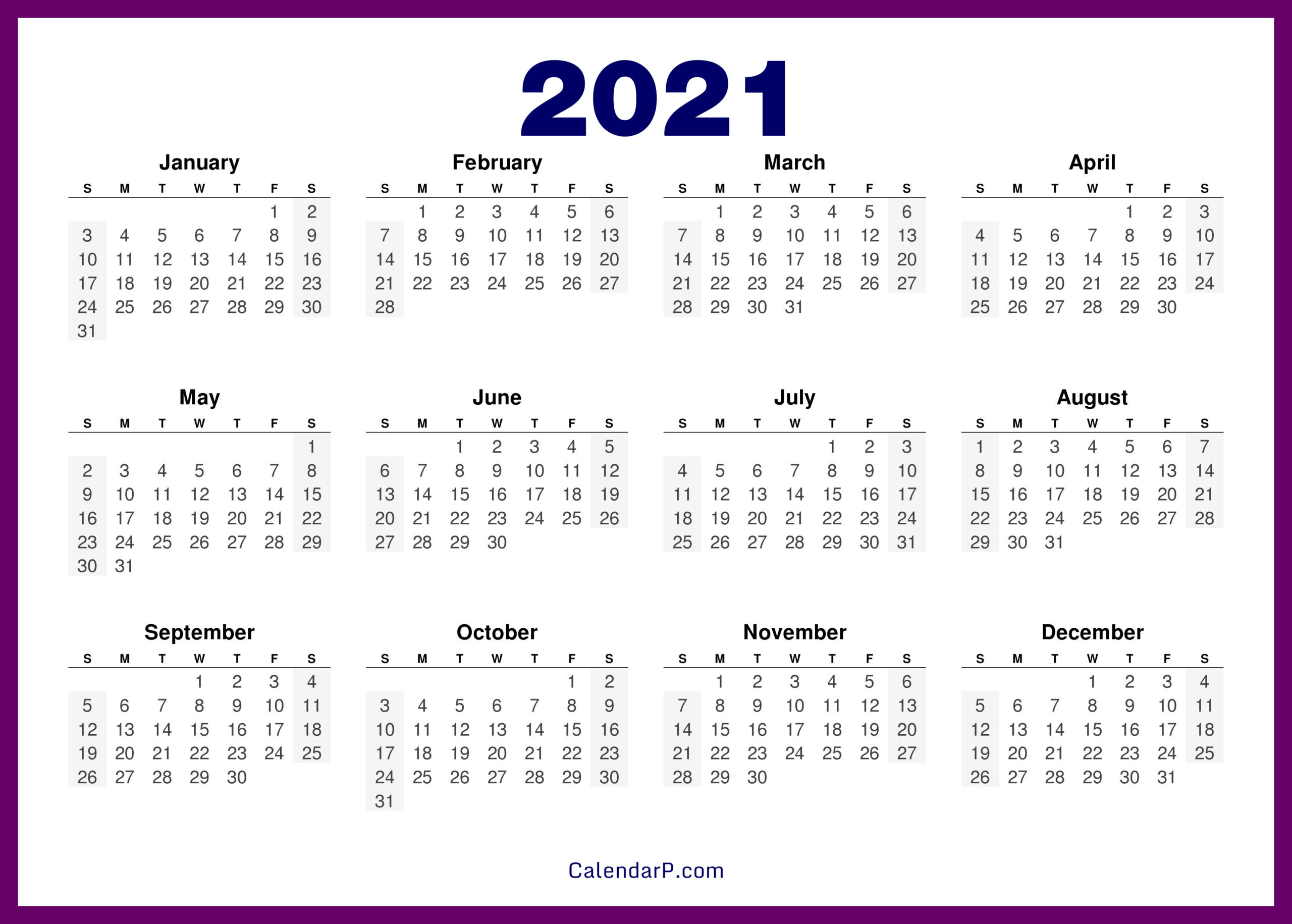 Printable 58 2021 Calendar - 8 5 X 11 Inch Bold 2021 inside Printable Calendars 2021 Sunday To Saturday
