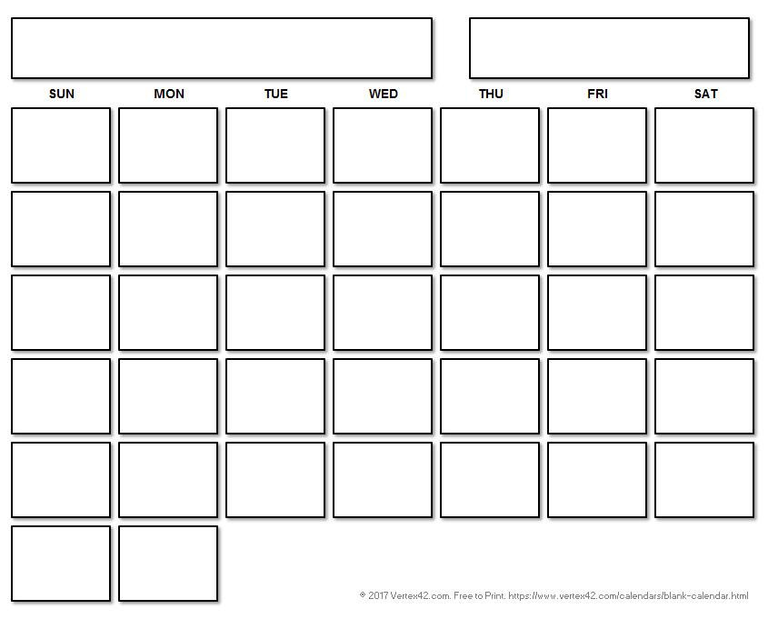 Printable Blank Calendar for Free Fill In Calendar Template