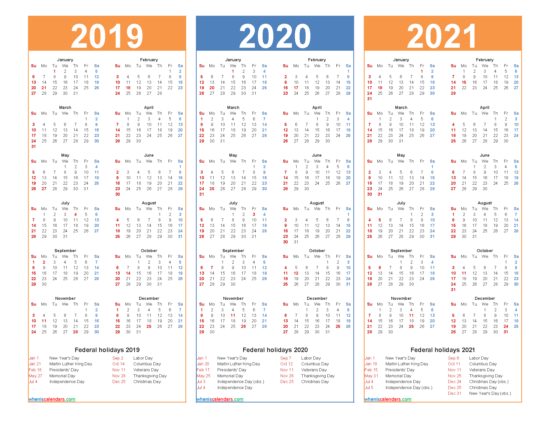 Printable Calendar 2019 2020 2021 With Holidays in 2021-2022 Three 3 Year Planner