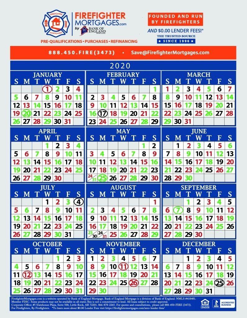 Printable Firefighter Shift Calendar 2021 | Calendar with Printable Yearly Shift Rota Calendars 2021 Free