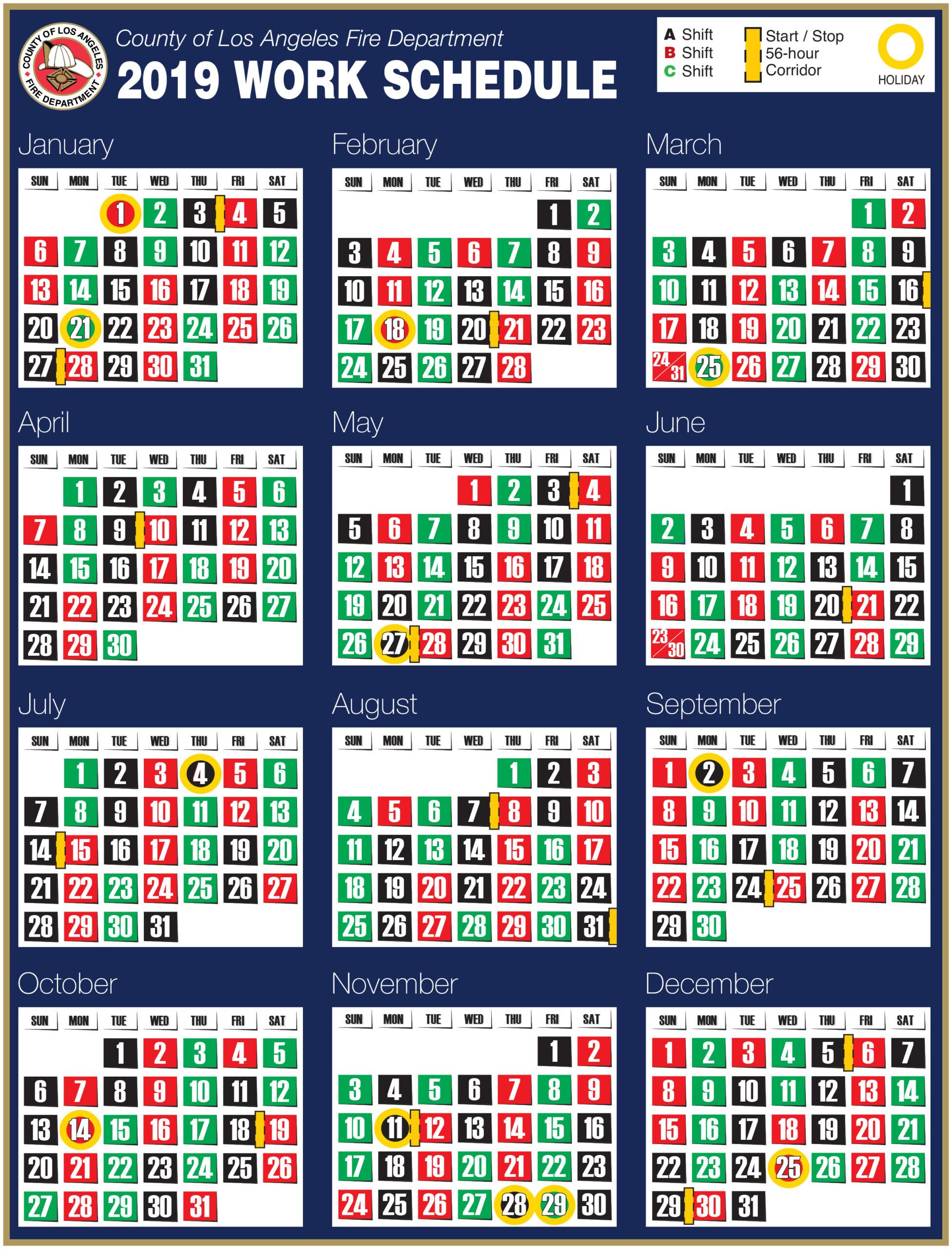 Printable Firefighter Shift Calendar - Calendar Printable Free throughout Free Shift Calendar