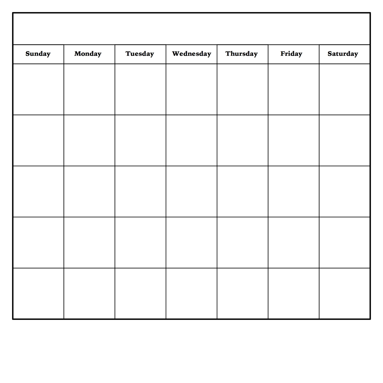 Printable Monthly Calendar Sunday To Saturday No Dates within Sunday Saturday Calendar
