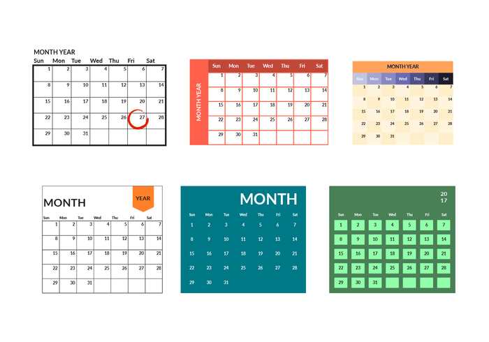 Printable Monthly Calendar Template Vector - Download Free inside Printable Monthly Calendar Without Download