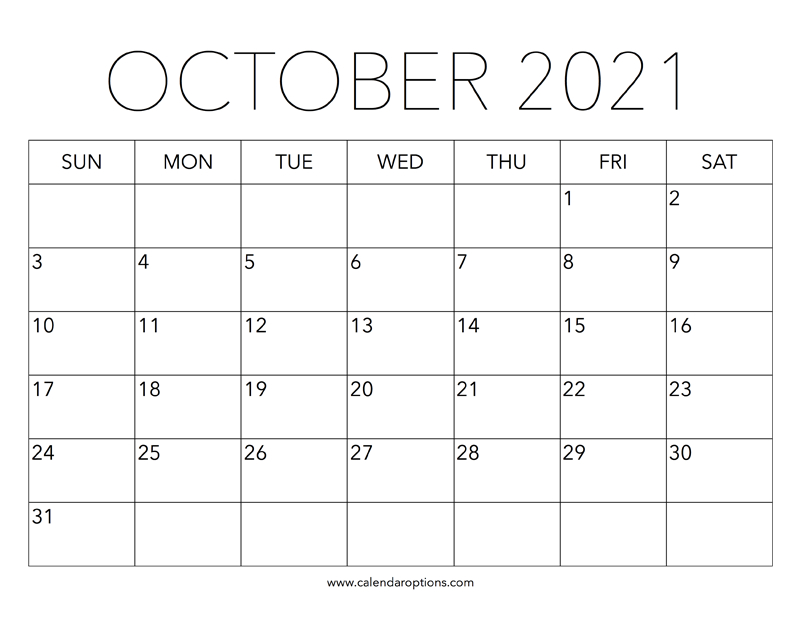 Printable October 2021 Calendar - Calendar Options pertaining to Calendar 2021 October Fill In