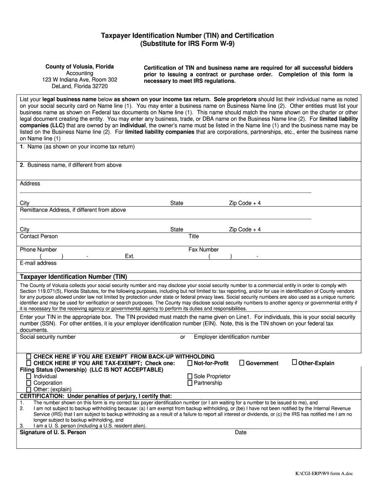 Printable W9 Form Microsoft Word | W-9 Form Printable for W 9 Forms To Print