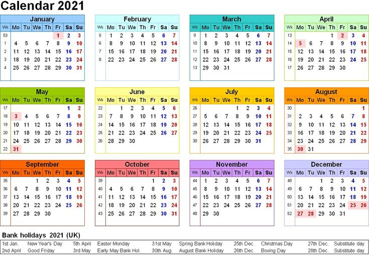 Printable Yearly Calendar 2021 Colorfull For All Genre Di 2020 with regard to All Year Calendar