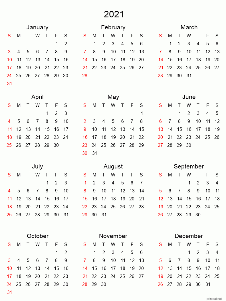 Printable Yearly Calendar 2021, Full-Year | Free Printable for 2021 Pocket Planner: Yearly Calendar