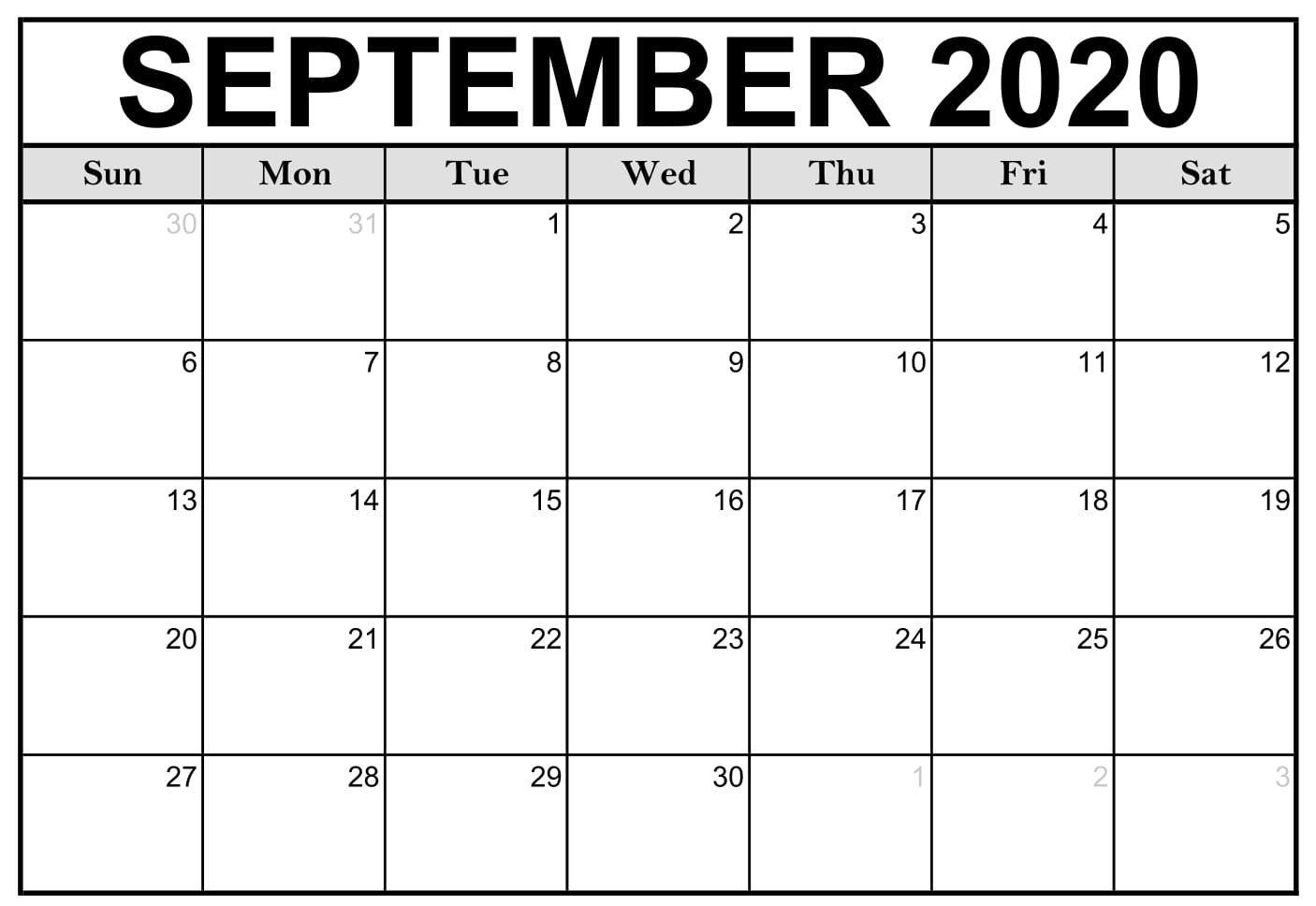 September 2020 Calendar Printable Waterproof | Free within Waterproof Calendars Printable 2021