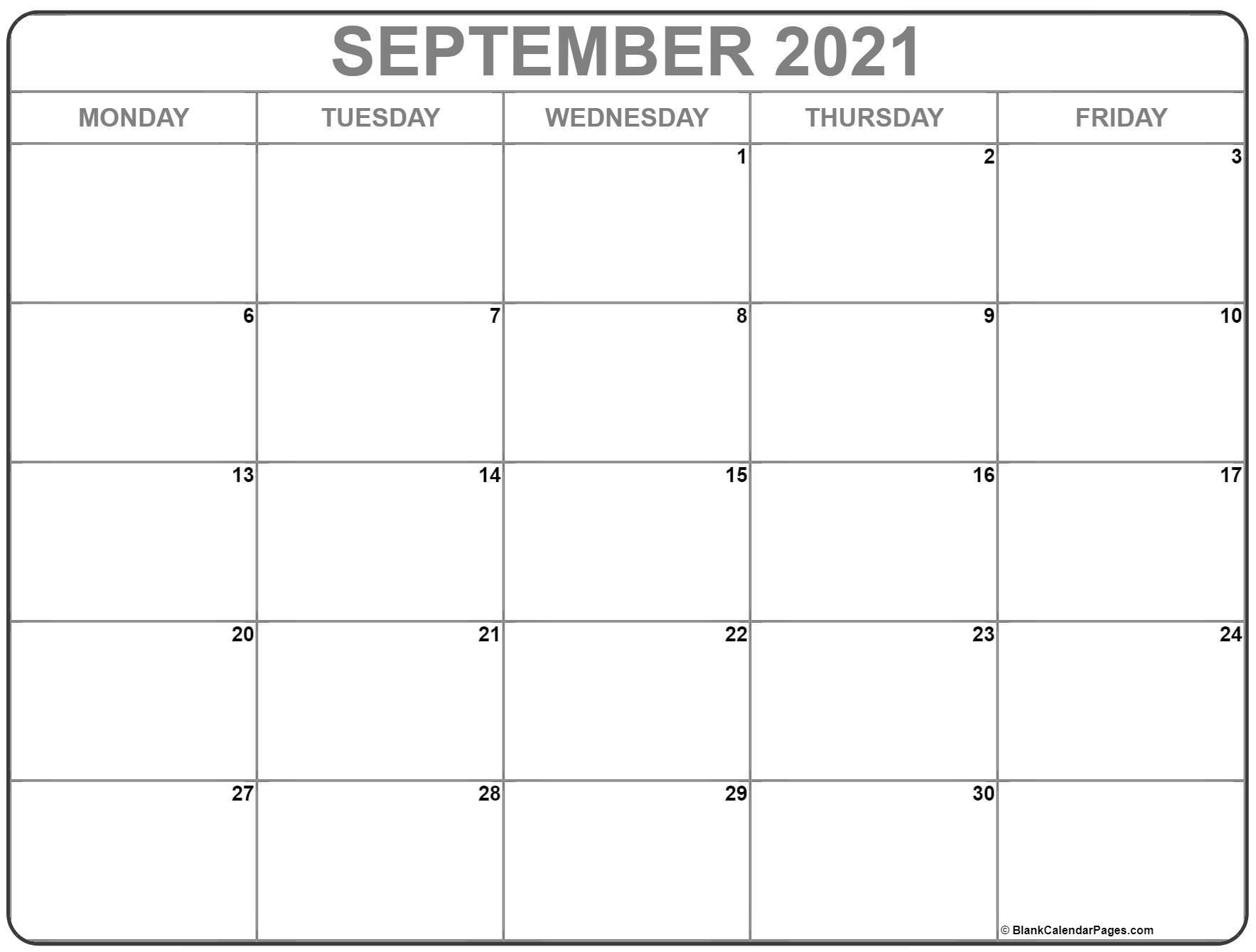 September 2021 Monday Calendar | Monday To Sunday pertaining to Calendar 2021 Monday Through Sunday